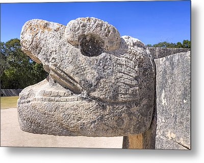 Ancient Mayan Serpent At Chichen Itza Metal Print by Mark E Tisdale