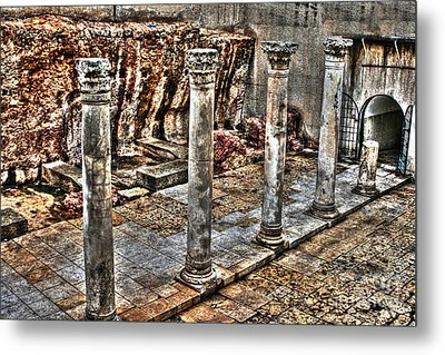 Metal Print featuring the photograph Ancient Roman Columns In Israel by Doc Braham