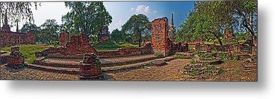Ancient Ruins Of Ayutthaya Historical Metal Print by Panoramic Images