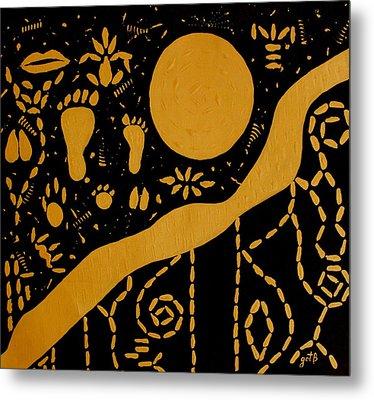 Ancient Worship Tribal Art Metal Print by Georgeta  Blanaru