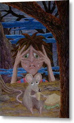 Metal Print featuring the painting and now I was frightened by Matt Konar