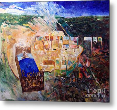 And The Angel Of Hashem Smote In The Camp Of Ashshur Metal Print by David Baruch Wolk