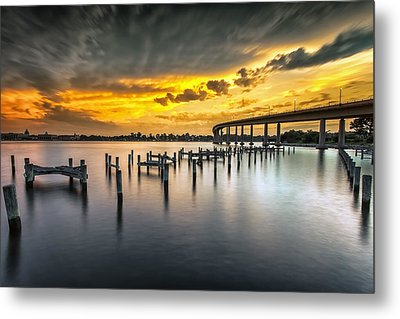 And The Water Caught Fire Metal Print by Edward Kreis