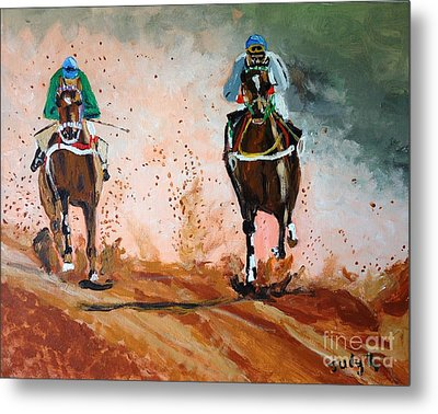 Metal Print featuring the painting And The Winner Is by Judy Kay
