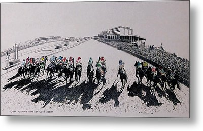 And Theyre Off Metal Print by Tony Ruggiero