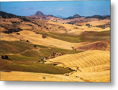 Andalusian Patchwork Fields I. Spain Metal Print by Jenny Rainbow