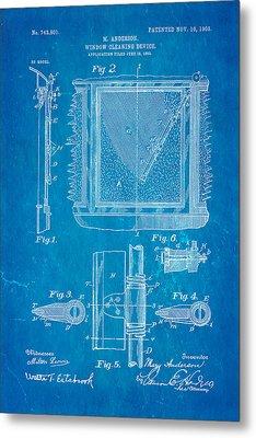 Anderson Windshield Wiper Patent Art 1903 Blueprint Metal Print by Ian Monk