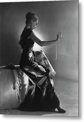 Andrea Johnson Wearing A Striped Dress Metal Print by Cecil Beaton
