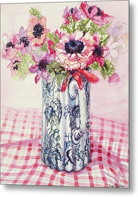 Anemones In A Victorian Flowered Jug Metal Print by Joan Thewsey