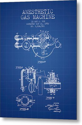 Anesthetic Gas Machine Patent From 1952 - Blueprint Metal Print