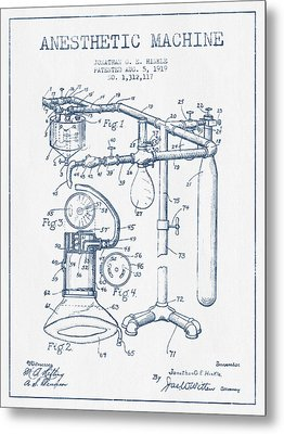 Anesthetic Machine Patent From 1919 - Blue Ink Metal Print