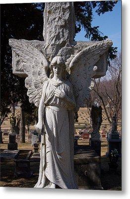 Angel And Cross Metal Print