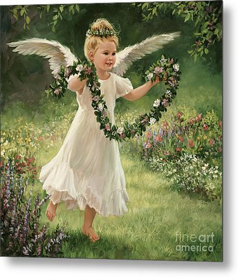 Angel And Garland Metal Print by Laurie Hein