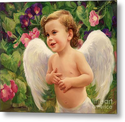 Angel And Morning Glory Metal Print by Laurie Hein