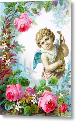 Angel And Roses Metal Print