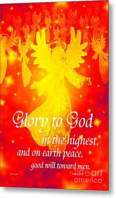 Angel Announcement - Red Metal Print