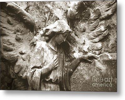 Angel Art - Surreal Ethereal Angel Wings Across Cemetery Wall  Metal Print by Kathy Fornal