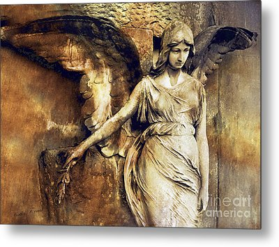 Angel Art - Surreal Gothic Angel Art Photography Dark Sepia Golden Impressionistic Angel Art Metal Print by Kathy Fornal