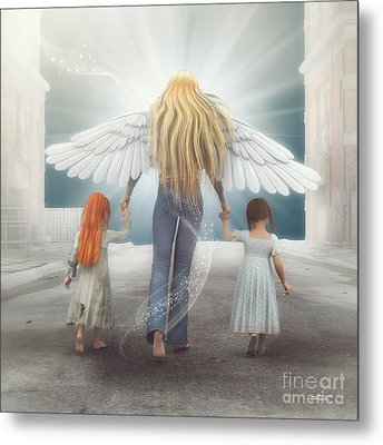 Angel In Blue Jeans Metal Print by Jutta Maria Pusl