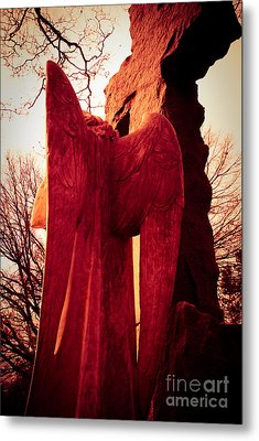 Angel In Red Metal Print by Sonja Quintero