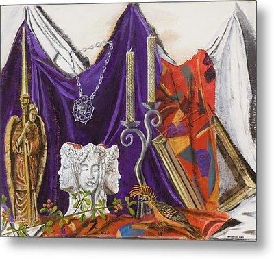 Metal Print featuring the painting Angel Meets Janus by Susan Culver