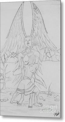 Angel Of God Struggle Metal Print