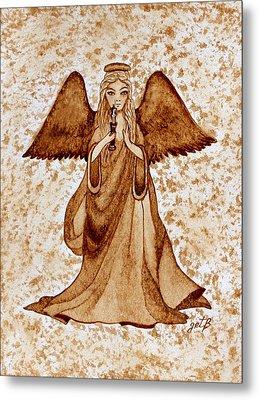 Angel Of Hope Original Coffee Painting Metal Print by Georgeta Blanaru