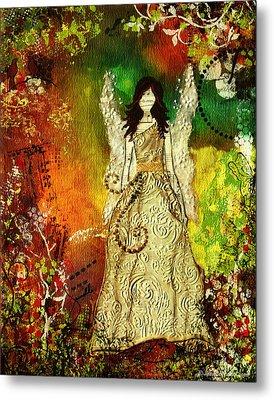Angel Of Light Christian Inspirational Mixed Media Artwork Of Angel Metal Print by Janelle Nichol