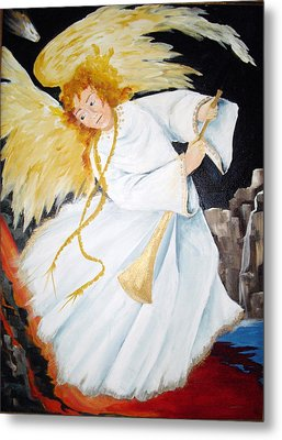 Metal Print featuring the painting Angel Of The Apocalypse by Ellen Canfield