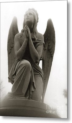 Angel Praying - Beautiful Dreamy Angel In Prayer - Praying Angel Looking To Heaven Metal Print