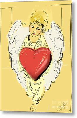 Angel Red Heart Metal Print by Go Van Kampen