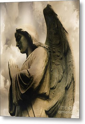 Angel Wings Praying - Spiritual Angel In Clouds Metal Print by Kathy Fornal