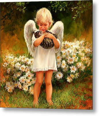 Angel With Cat Metal Print by Laurie Hein