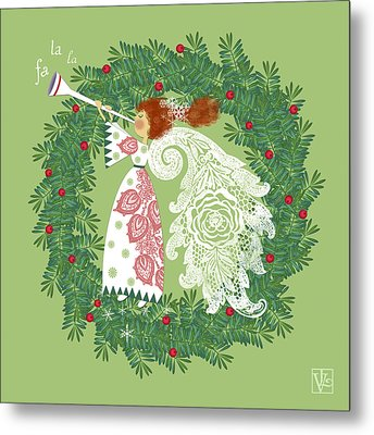 Angel With Christmas Wreath Metal Print by Valerie Drake Lesiak