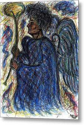 Angel With Horn Metal Print by Rachel Scott