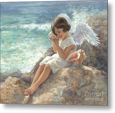 Angel With Shell Metal Print by Laurie Hein