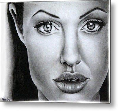 Angelina Jolie Metal Print by Atinderpal Singh
