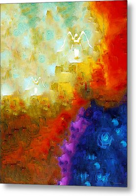 Angels Among Us - Emotive Spiritual Healing Art Metal Print by Sharon Cummings