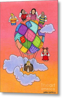 Angels With Hot Air Balloon Metal Print by Sarah Batalka