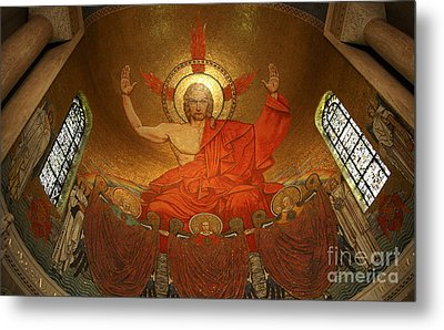 Angry God Mosaic At The Shrine Of The Immaculate Conception In Washington Dc Metal Print by William Kuta