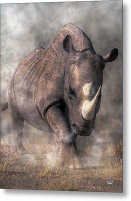 Angry Rhino Metal Print by Daniel Eskridge