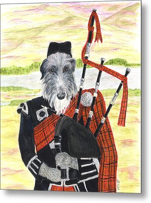 Angus The Piper Metal Print by Stephanie Grant