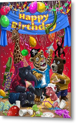 Animal Birthday Party Metal Print by Martin Davey