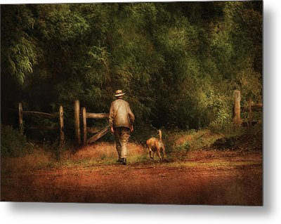 Animal - Dog - A Man And His Best Friend Metal Print by Mike Savad