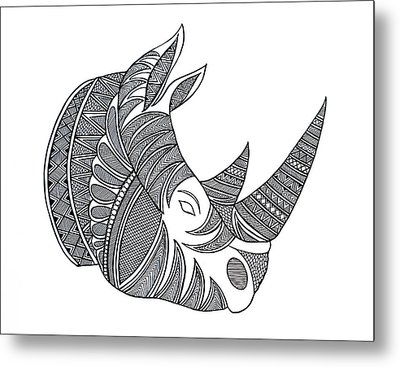 Animal Head Hippo Metal Print by Neeti Goswami