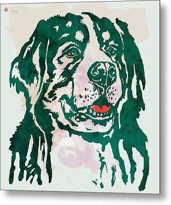 Animal Pop Art Etching Poster - Dog - 1 Metal Print by Kim Wang