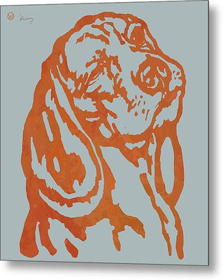 Animal Pop Art Etching Poster - Dog 11 Metal Print by Kim Wang