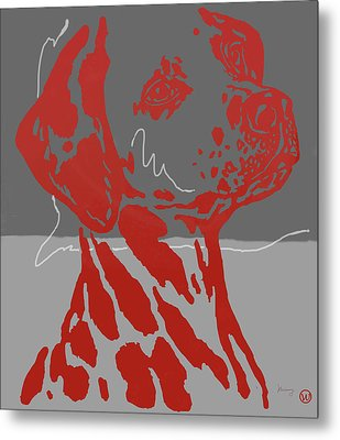 Animal Pop Art Etching Poster - Dog 12 Metal Print by Kim Wang