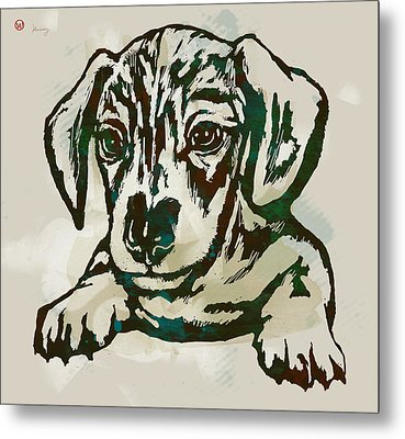 Animal Pop Art Etching Poster - Dog - 4 Metal Print by Kim Wang