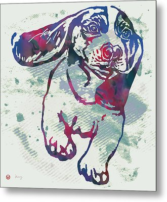 Animal Pop Art Etching Poster - Dog - 6 Metal Print by Kim Wang